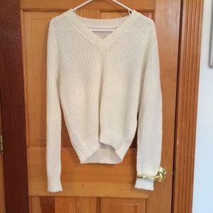 White V-Neck Patterned Sweater